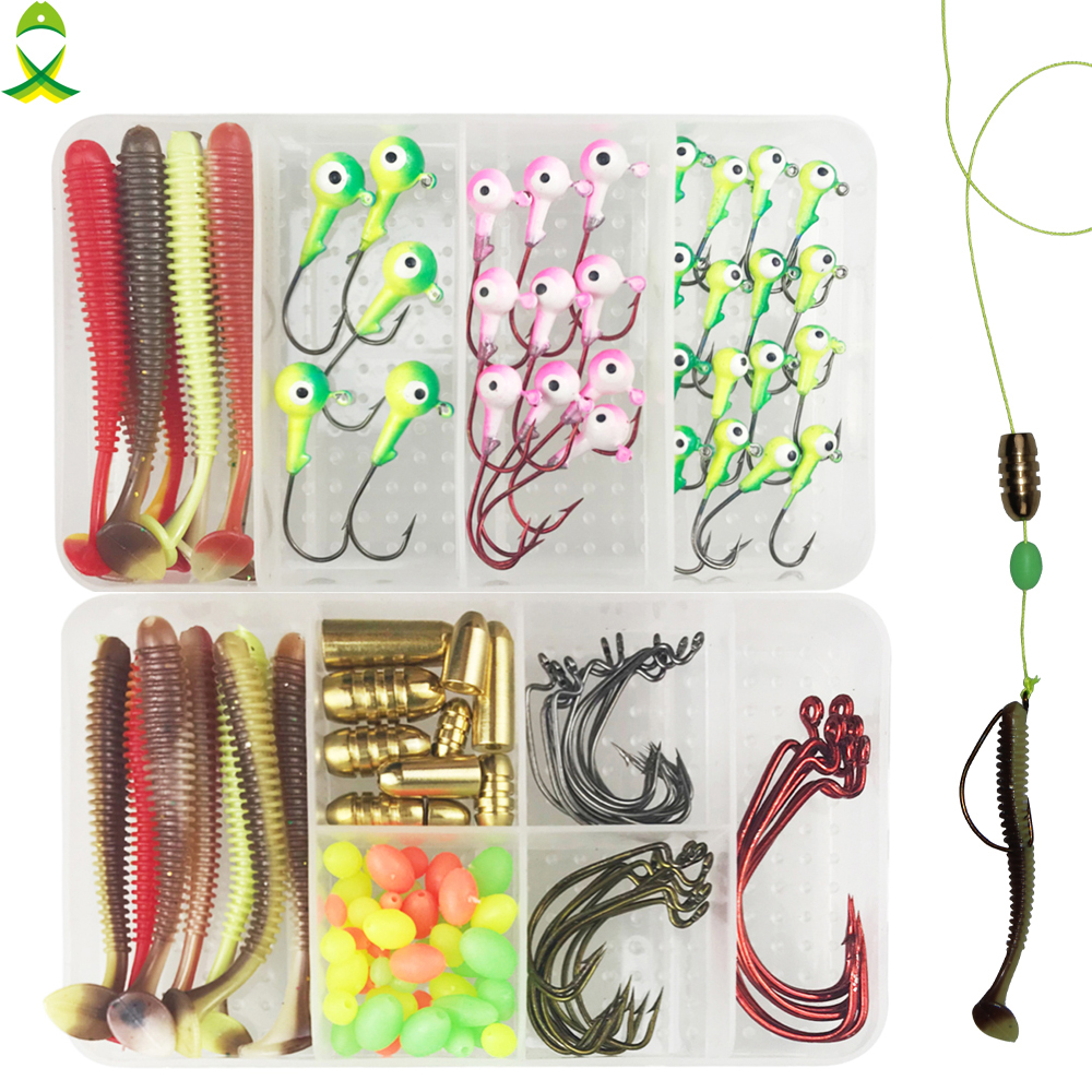 JSM 125pcs/lot Lure Fishing Accessories Set For Texas Rig Brass Bullet Sinker Lead Head Hook Jig With Double Fishing Tackle Box