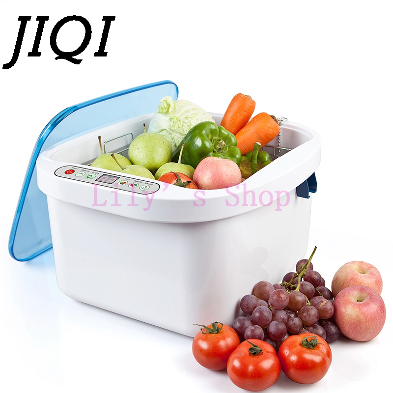 JIQI fuits Vegetables Ultrasonic Washer dishes bowls washing machine cleaner O3 air purifier meat ozone disinfection 110V 220V