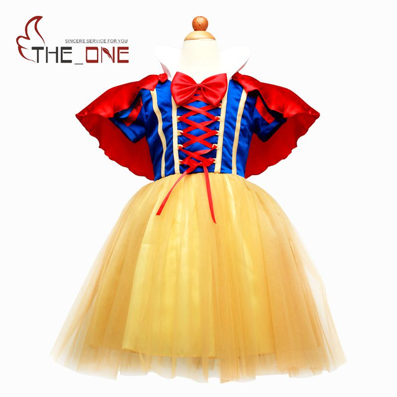 Girls Snow White Costume Cosplay Kids Girl Princess Party Dresses with Cape Short Sleeve Dress with
