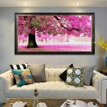 DIY diamond embroidery Pink landscape painting Romantic tree rhinestones pasted cross stitch mosaic Landscape Painting