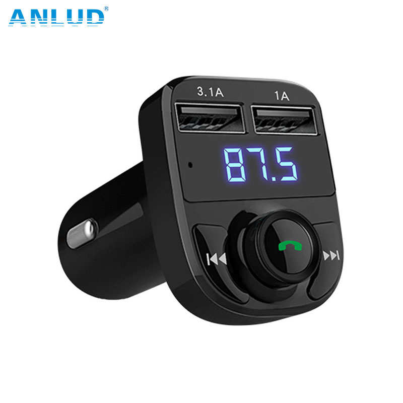 ANLUD Car MP3 Audio Player Bluetooth Car Kit FM Transmitter Handsfree Calling 5V 4.1A Dual USB Car Charger Phone Charger