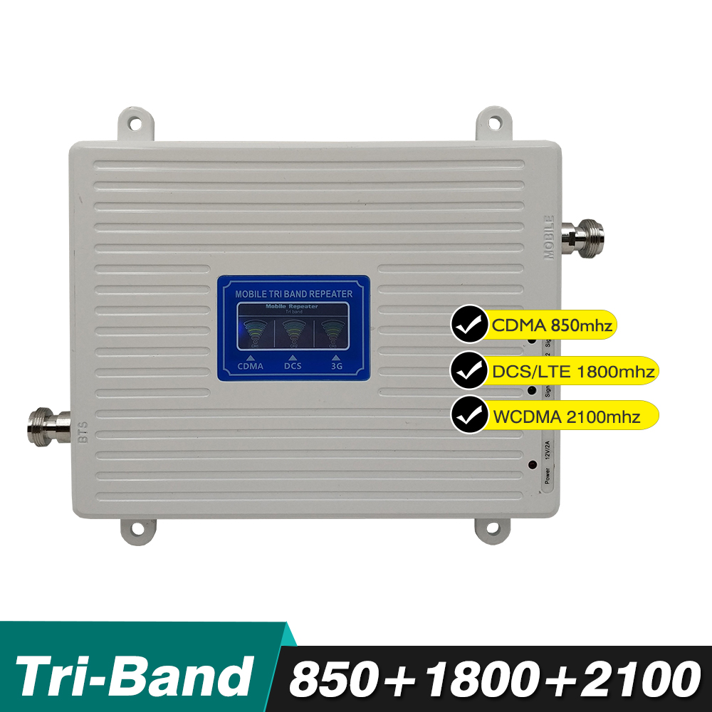 70dB Ganho 23dBm 4 3 2g g g Tri Band Impulsionador CDMA DCS 850/LTE 1800 WCDMA 2100 mhz Cell Phone Signal Repetidor Amplificador Display LCD