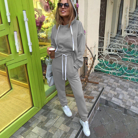 2pcs Sets Casual Hooded Tops Sweatshirt+Solid Long Pants Suits Women Sets Female Tracksuits Women Clothing Bigsweety Islamabad