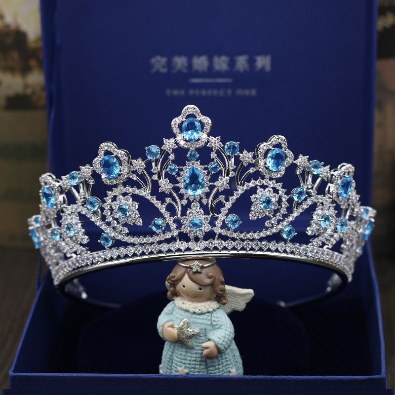 Fashion luxury Paved big red blue crystal CZ Crown Cubic Zircon Wedding bride banquet dinner Bride Hair Jewelry free shipping 03 red gold bride wedding hair tiaras ancient chinese empress hat bride hair piece