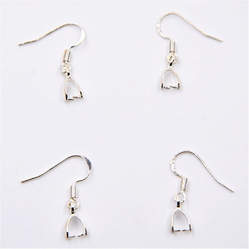 100PCS  Pinch Bail Hook Earring Earwire For Crystal Bead Silver Jewelry Findings