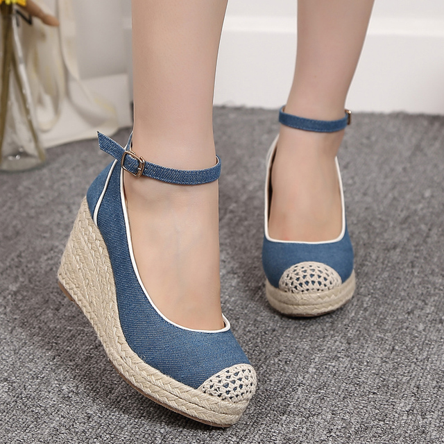 Pumps Ankle Strap Straw Thick Soled Platform Denim Belt Buckle Blue Sky Spring Autumn Dress Women Wedding Shoes Lace Wedges