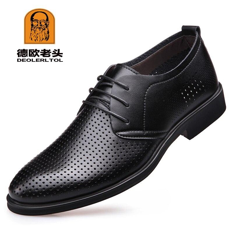2019 Neu Herren Qualität Kuh Leder Schuhe Sommer Aushöhlen Schuhe Größe 38-47 Schwarz Weichen Mann Sommer Leder Schuhe Eine Hohe Bewunderung Gewinnen