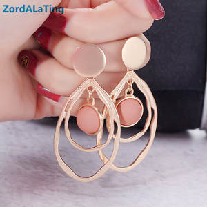 S925 silver needle new oval frosting pink hoop vintage earrings for women exaggerated retro lovely party gift girl drop earring