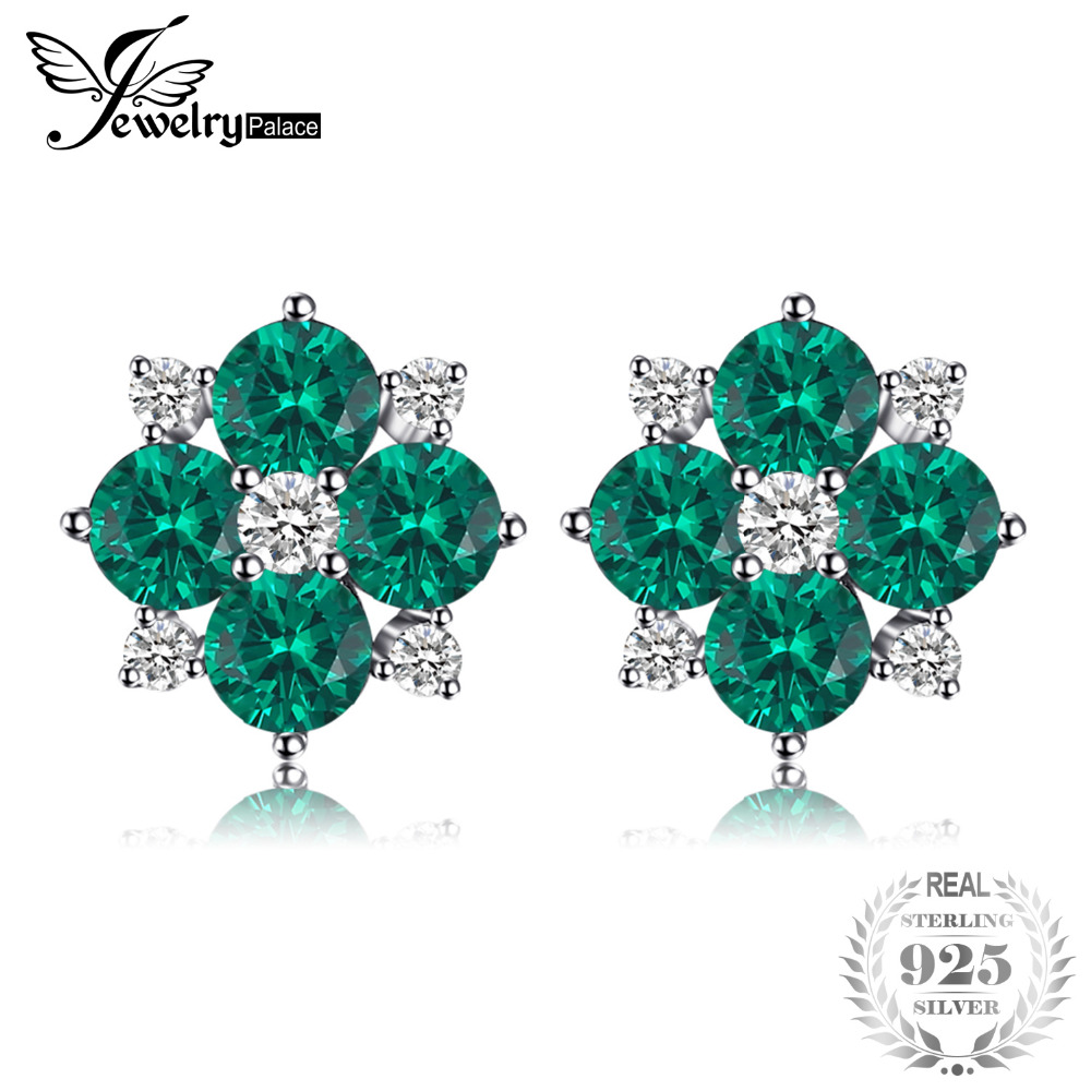 JewelryPalace 1.42ct Created Emerald Stud Earrings 925 Sterling Silver Fine Jewelry Lucky Clover Earrings For Women Hot Selling pair of stylish rhinestone clover stud earrings for women