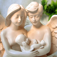 Family of three Angel doll Resin character decoration Living room new house decoration Girlfriend wedding gift