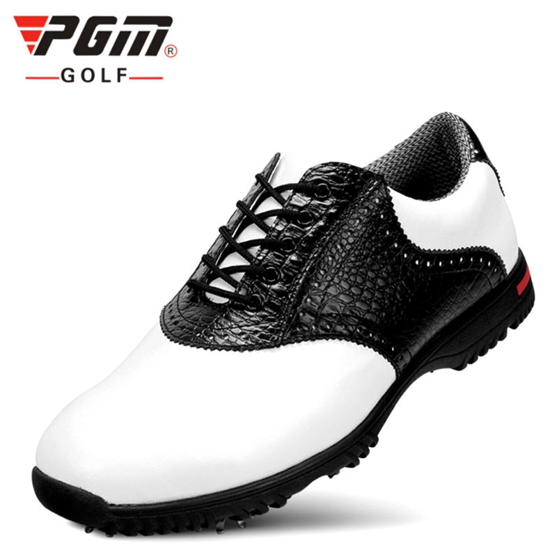 Genuine Leather Men Golf Shoes Breathable Professional Sneaker Waterproof Men Golf Sport Shoes Leather Athletic Golf Shoes pgm men golf shoes breathable athletic sneaker plus size 39 46 mesh sport shoes pu waterproof professional golf shoes for men