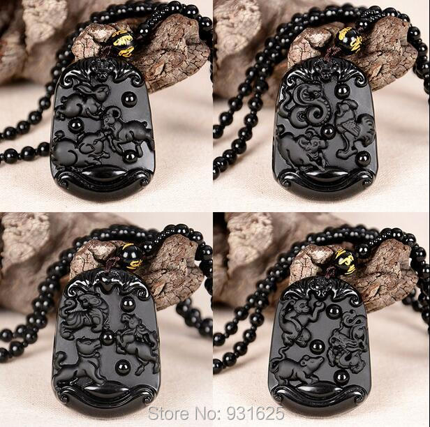 New Unique Natural Black Obsidian Carving Chinese Zodiac Three in one Lucky Pendant Free Necklace fashion woman man's Jewelry