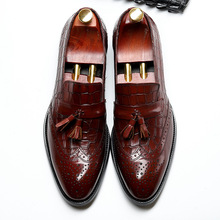 QYFCIOUFU Black Genuine Calf Leather tassel brogue shoes men Handmade Wedding Office Dress Shoes Luxury Brand formal shoes men