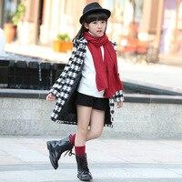 2016 Winter Spring Fashion Elegant Slim Children Long Coat Thickening Warm Kids Trench Girls Plaid Cotton Overcoat Jacket