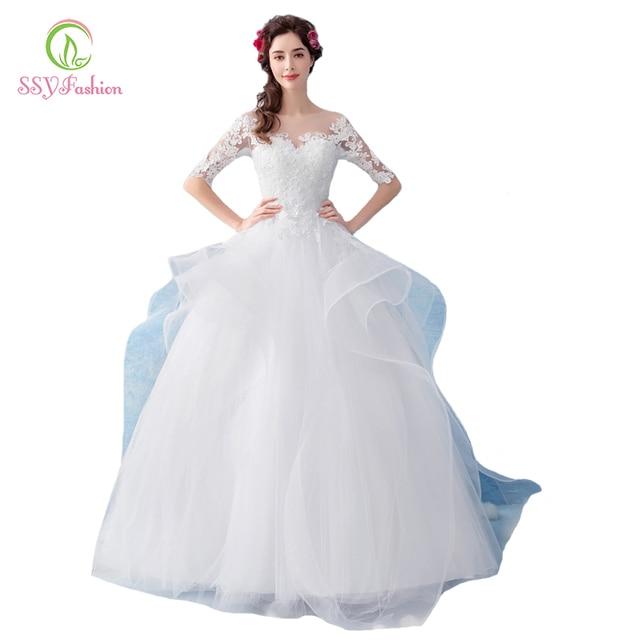 ffedbd54996 SSYFashion New Wedding Dress The Bride Elegant White Half Sleeved  Floor-length Lace Appliques Wedding Gown Vestido De Noiva