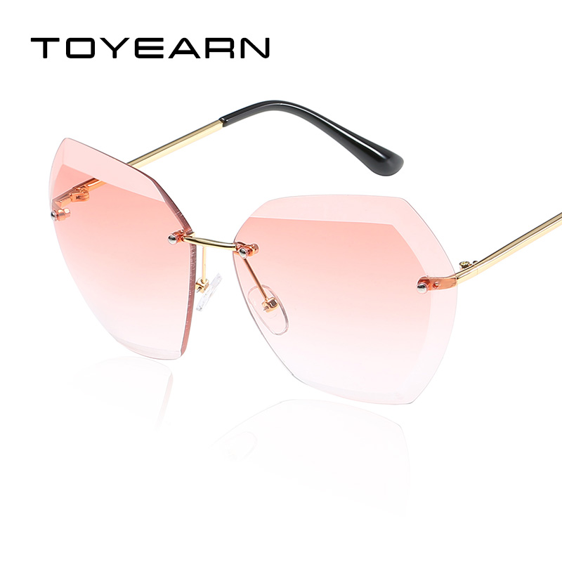 Fashion Retro Women Ladies designer Frameless Sunglasses Gradient Lens UV400