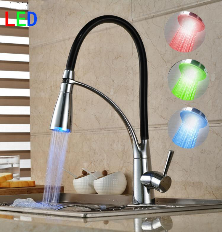 Kitchen Faucet Pull Out Hand Spray Chrome Cast Brass Rotating Cold And Hot LED Kitchen Taps