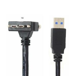 Image 2 - USB 3.0 b 90 תואר ימין ושמאל עד & למטה בזווית מיקרו B USB 3.0 עם נעילת ברגים הר נתונים כבל 1.2 m 3 m 5 m