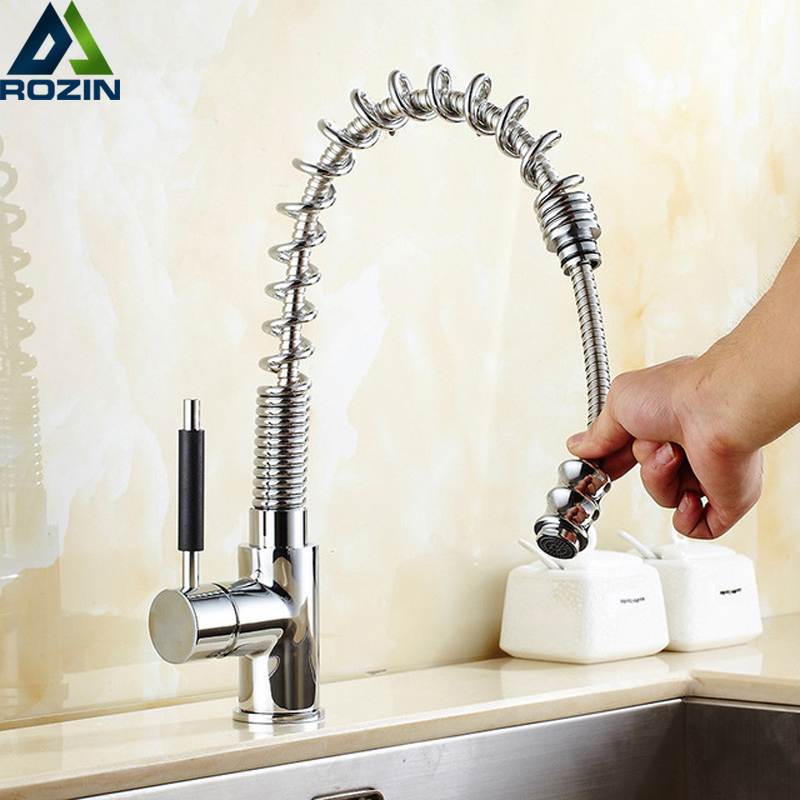Chrome Kitchen Sink Faucet Brass Pull Out Hot and Cold Water Mixer Tap Deck Mounted Single Handle Kitchen Washing Tap