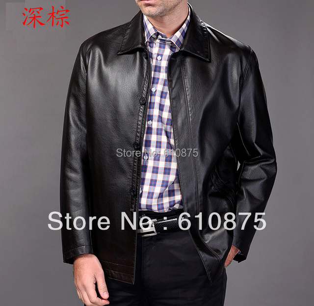 Genuine leather male casual clothing leather clothing turn-down collar plus size male genuine leather jacket