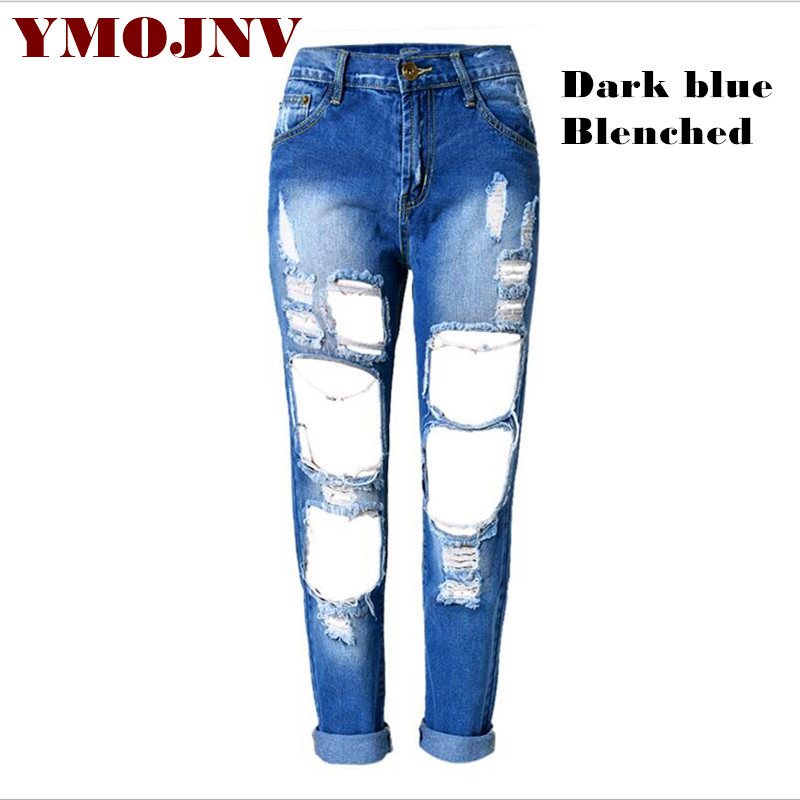 Jeans Woman 2016 Europe And The New Women's Plus Size Hole Jeans Fashion Personality Tore Russian Style Denim Trousers Beggar