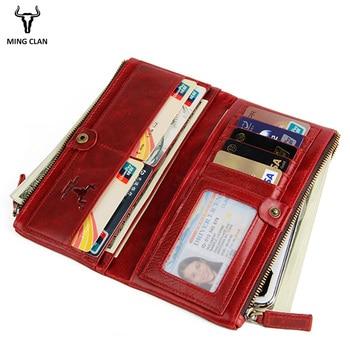 39fc61728fb38 ... Mingclan kobiet kiesy sprzęgła prawdziwej skóry marki portfel RFID  mężczyzna organizator portfel na telefon torba długi zamek błyskawiczny  kieszonkowy ...