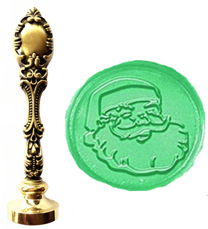 Vintage Christmas Santa Claus Face Custom Picture Logo Luxury Wax Seal Sealing Stamp Brass Peacock Metal Handle Gift Set inflatable cartoon customized advertising giant christmas inflatable santa claus for christmas outdoor decoration