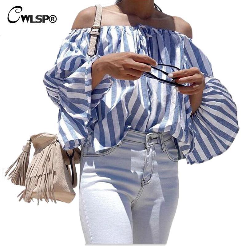 Cwlsp slash cuello hombro tops otoño mujeres rayas de manga larga blusa camisas
