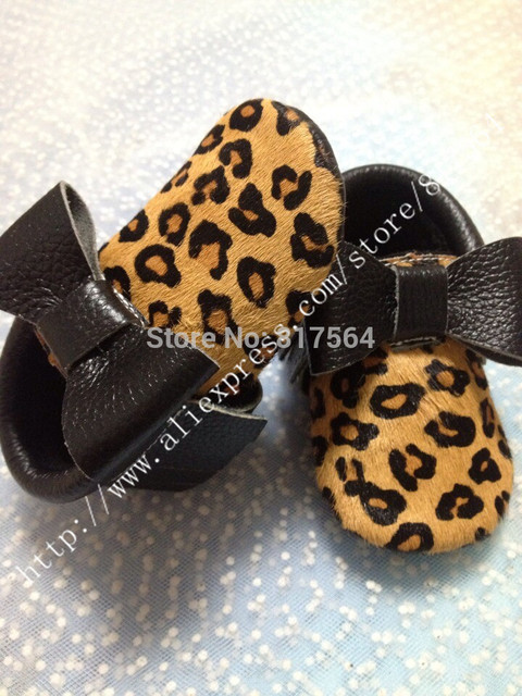 New Leopard grain Horse hair fringe baby moccasins genuine leather soft sole prewalker toddlers/infants moccasin tassel moccs