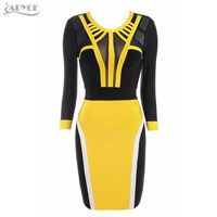2016 New Springtime Party Sexy Dresses Arrival Yellow Black Mesh Bodycon Bandage Dress