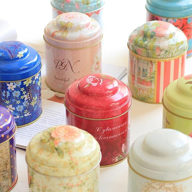 5pcs Lot European Style Kitchen Tea Coffee Storage Box Iron Container Wedding Favor Tin Case