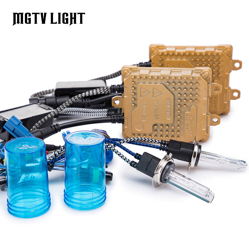 MGTV lumière voiture HID Ballast Kit rapide lumineux xénon phare ampoule H4 H1 H3 H7 H11 H8 H9 9006 D2H 9012 55 W remplacer Source lumineuse