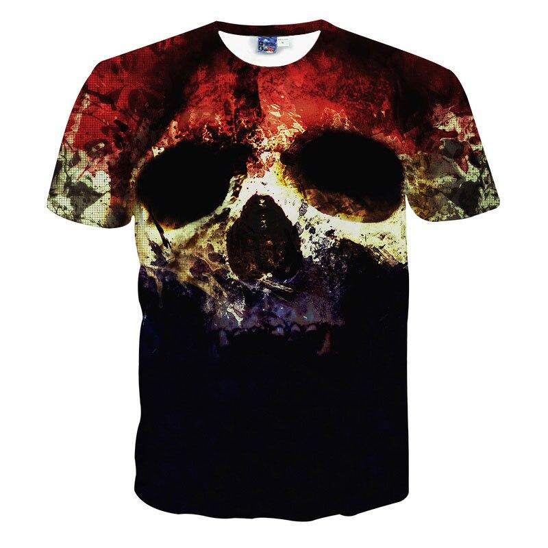 Calidad Superior de Halloween hombres marca ropa manga corta Camiseta cráneos impresión 3D t-shirt mens casual tie Dye camiseta camisetas