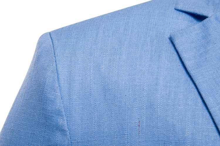 白綿リネン軽量スーツのジャケットの男性 2019 新スリムフィットカジュアルブレザージャケットメンズパーティー結婚式新郎ブレザー Hombre