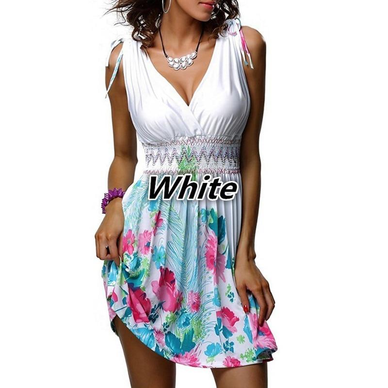 e2142494861 ... Цветочный принт тонкий белый летнее платье · 5XL плюс Размеры Для женщин  богемный Пляжные наряды Sexy Глубокий V шеи платье без рукавов Сладкий