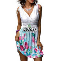 5XL Plus Size Women's Bohemian Beach Dresses Sexy Deep V Neck Sleeveless Dress Sweet Floral Print Slim White Summer Dress
