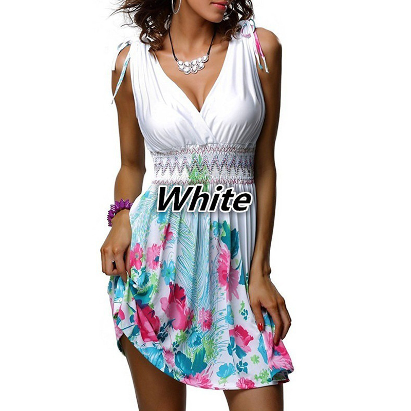 5XL <font><b>Plus</b></font> <font><b>Size</b></font> Women's Bohemian Beach <font><b>Dresses</b></font> <font><b>Sexy</b></font> Deep V Neck Sleeveless <font><b>Dress</b></font> Sweet Floral Print Slim White Summer <font><b>Dress</b></font> image