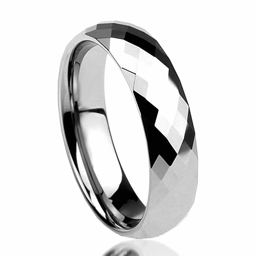 6mm Unik Tungsten Comfort Fit Wedding Band Multi Faceted Tinggi Polish Dome Nya dan Miliknya Cincin Janji