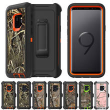 Voor Samsung Galaxy S8 S9 S10 Plus S10 Lite Note 9 8 Camo Realtree Heavy Duty Hybrid Shockproof Case Cover met Riem Clip Hostel(China)
