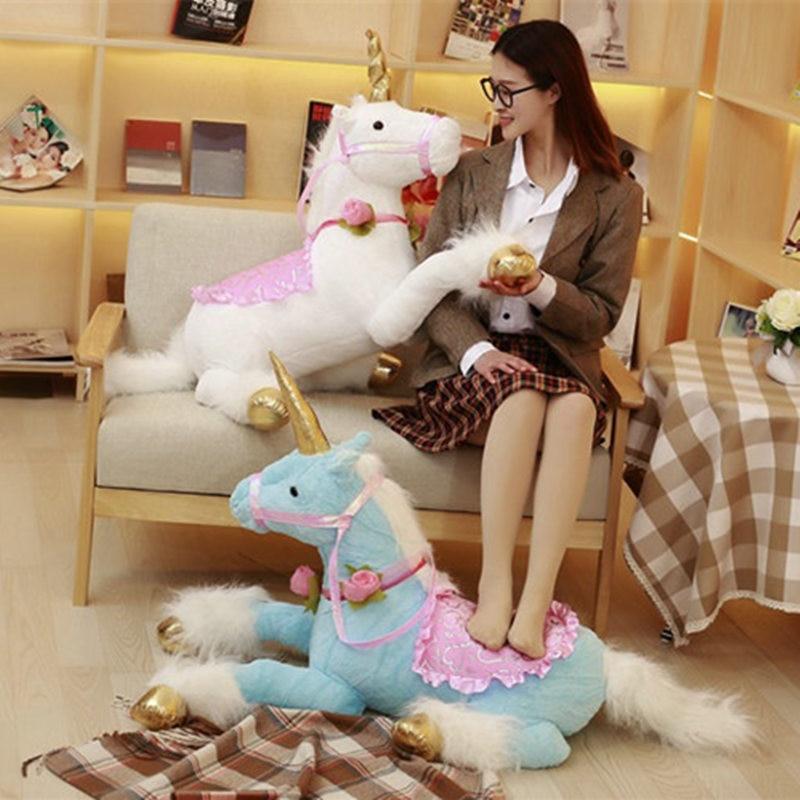 1 pc 100 cm gros cheval licorne jouets en peluche animaux en peluche belle peluche licorne oreiller poupée jouets enfants jouets anniversaire amoureux cadeaux