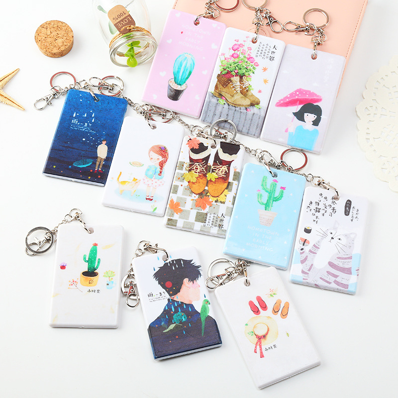 Coloffice Kawaii beauty girls Cartoon Creative PU Card Sets Key chain Bus Meal Card Case Students Multifunction Card Holder 1pcs ...