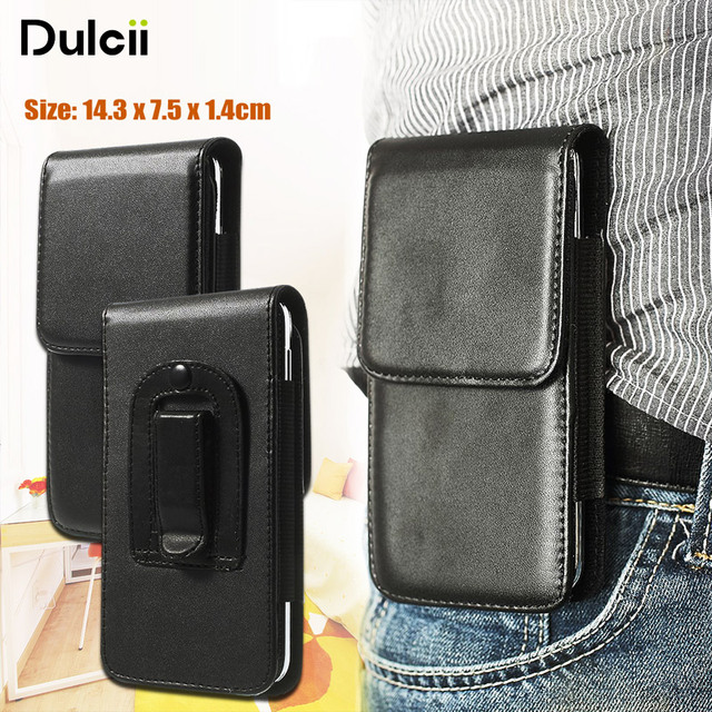 outlet store 5ba84 372a3 US $3.66 |DULCII For SamsungS5 Phone Bag Vertical PU Leather Holster Case  With Belt Clip for GalaxyS5 G900 Cover 143 x 75 x 14mm-in Holsters & Clips  ...