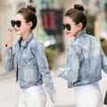 2016 New Spring Autumn Boyfriend Women Short Paragraph Rivet Denim Jacket Fashion Vintage Ladies Jeans Coat Slim Female Jackets