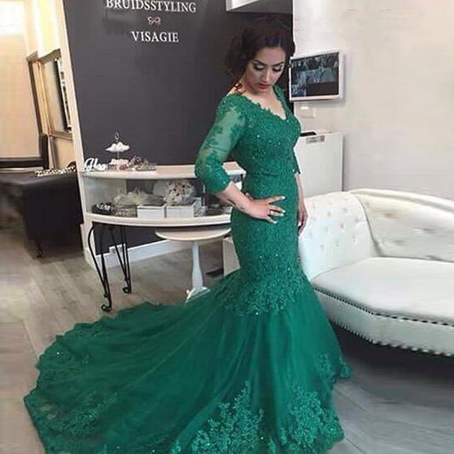 0987b81e030 Long Mermaid Prom dresses 2017 V Neck Sexy Plus Size Emerald Green Long  Sleeve Lace Evening Gowns Abendkleider vestido longo