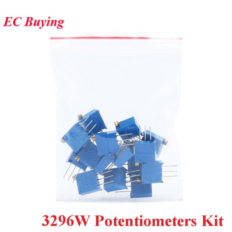 Kit potentiomètres 3296 W tondeuse multitours potentiomètre de précision réglable 3296 résistances variables Kit de bricolage 15 valeurs * 1 pièces