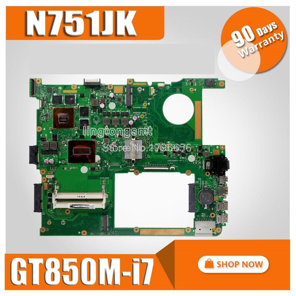 N751JK mère D'ordinateur Portable pour ASUS N751JK N751J N751 Test carte mère d'origine I7-4710HQ GTX850M-4G EDP