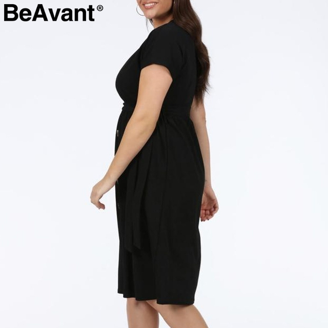 BeAvant Casual women plus size dress summer 2019 V neck short sleeve high waist dress female Buttons loose midi dress vestidos 2