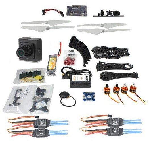 DIY Радиоуправляемый Дрон Квадрокоптер 380 мм Колесная база кадров Комплект с APM 2,8 Полет Контроллер Gimbal ESC F14893-P + камера