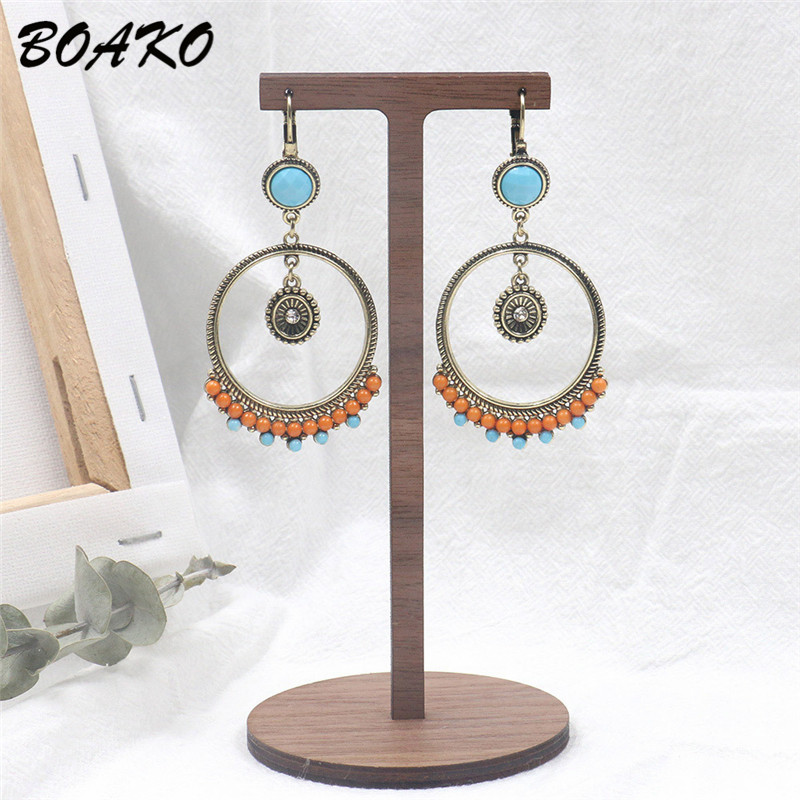 BOAKO Bohemian Round Earrings Colorful Resin Beaded Earrings Women Female Long Dangle Drop Earrings Vintage Ethnic Party Jewelry in Drop Earrings from Jewelry Accessories