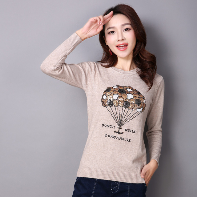 2017 high quality slim Spring cashmere sweater women womens autumn sequined knitted pullover sweaters for winter with cartoons